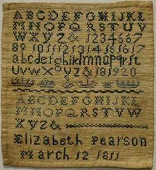 Miniature Early 19th Century Blue Stitch Work Sampler By Elizabeth Pearson 1811