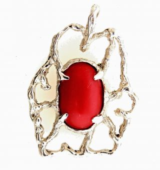 """Vintage Hand Crafted Modernist 14k White Gold Red Coral Pendant 1.  5 """" 10.  65 Grams"""