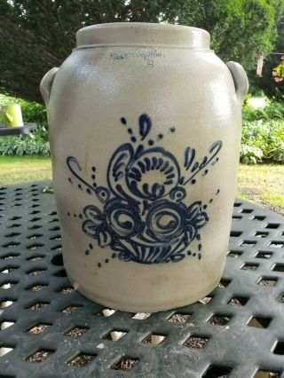 Stoneware Crock With Cobalt Blue Basket Of Flowers.  Rare Whites Of Utica