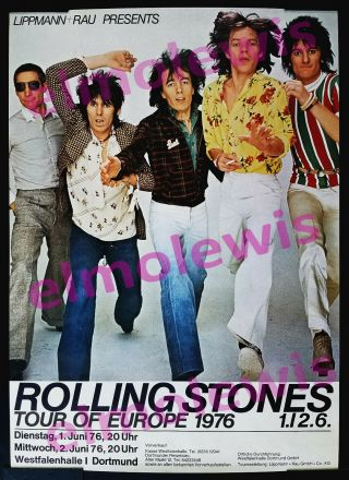 The Rolling Stones 1976 Concert Poster Dortmund Germany Rare Venue