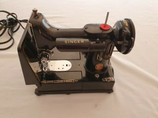 Antique singer electric sewing machine.  Model 222K Featherweight portable 10