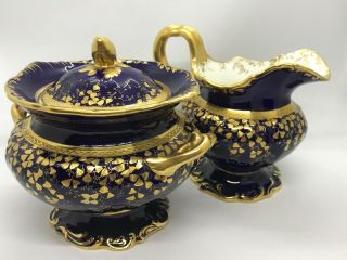 Rare Minton England Majestic Blue & Heavy Gold Encrusted Creamer & Sugar Bowl