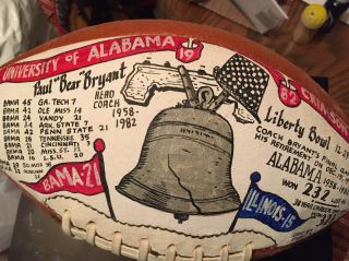 Rare 1982 Alabama Bear Bryant Signed Liberty Bowl Football Autographed