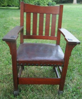 Antique Oak Mission Arts Craft Gustav Stickley Leather Seat Chair