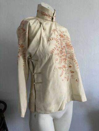 Vintage 1920s 30s Chinese Silk Cheongsam Qipao Top Blouse Floral Embroidery VTG 2