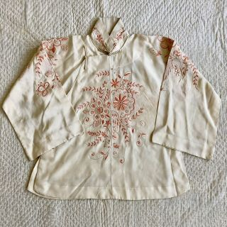 Vintage 1920s 30s Chinese Silk Cheongsam Qipao Top Blouse Floral Embroidery VTG 3