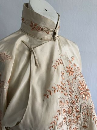 Vintage 1920s 30s Chinese Silk Cheongsam Qipao Top Blouse Floral Embroidery VTG 4