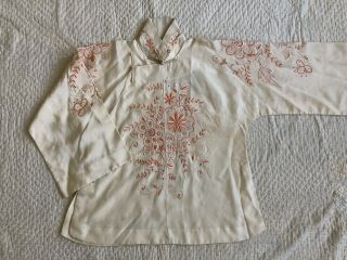 Vintage 1920s 30s Chinese Silk Cheongsam Qipao Top Blouse Floral Embroidery VTG 5