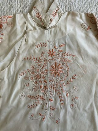 Vintage 1920s 30s Chinese Silk Cheongsam Qipao Top Blouse Floral Embroidery VTG 6
