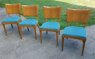 Set Of Four Vintage Mid Century Heywood Wakefield Dining Side Chairs