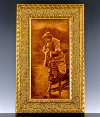 Rare C1890 Victorian Englsh Sherwin & Cotton Pottery Plaque Young Maiden W Lamb