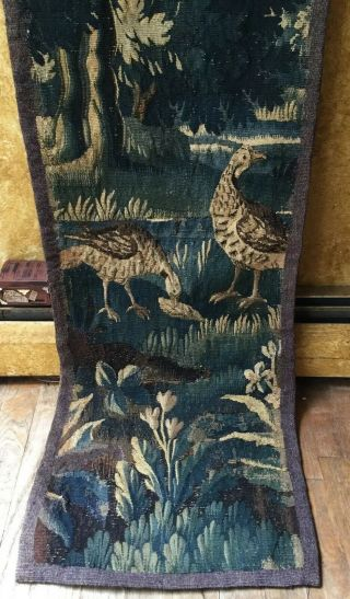 "Magnificent Antique French Aubusson Verdure Wall Hanging Hand Made 16x90"" 18th C"