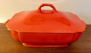 Vintage Riviera Red Covered Casserole Dish From Homer Laughlin