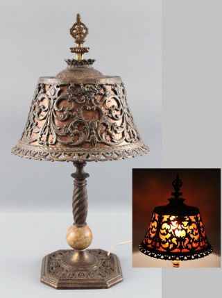 Antique Arts & Crafts Cast Iron & Marble Boudoir Lamp W/ Mica Shade