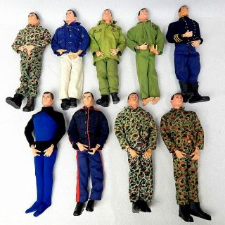Vintage Group Of 9 Gi Joe Action Figures Sailor Marine Soldier 1960
