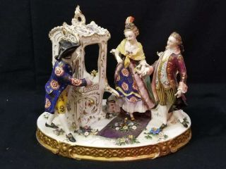 """Antique Courting Couple Porcelain Figural Group,  """" Dresden """" Flowers,  1880 - 1920"""