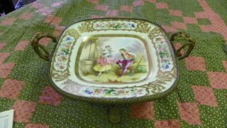 French Ormolu Bronze Sevres Hand - Painted Porcelain Centerpiece Tray