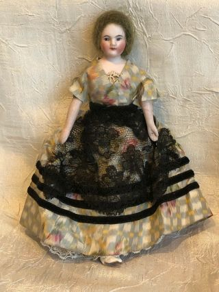 Antique Bisque German Dollhouse Lady Doll W White Boots 6 7/8 ""