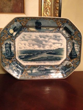 """Antique Blue And White Platter 1908 By A.  S.  Burbank 17 """" Long By 13 """" Wide"""