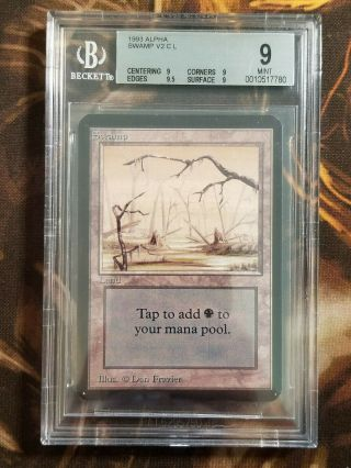 1993 Mtg Alpha Swamp V2 Bgs 9.  0 Vintage Magic The Gathering Quad,