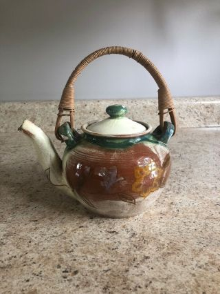 Vintage Brown County Pottery Indiana Floral Design Teapot