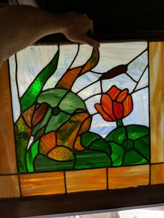 """Mid Sized Old English Leaded Stained Glass Window Bordered Floral 32 """" X 26 """""""