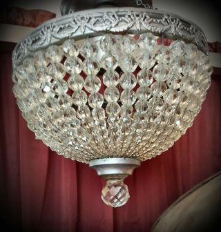 "Antique Crystal Beaded Basket 8 "" X7 "" Chandelier For Ceiling Hall,  Bath Or Bedroom"