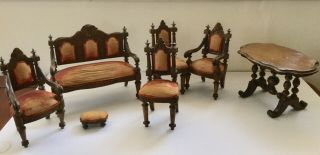 Antique Large Dolls House / Apprentice Furniture Chairs,  Table,  Footstool Settee