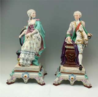 Antique Pair Large French Bisque Figurines,  Man & Woman As - Is