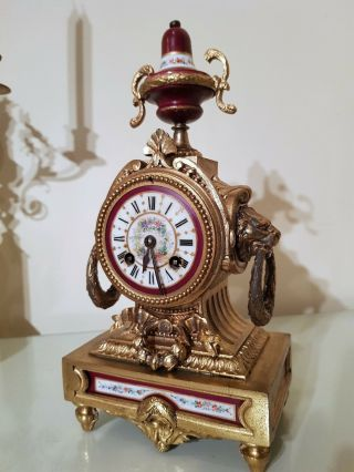 Antique French Gilt Mantel Clock With Sevres Porcelain Panel.