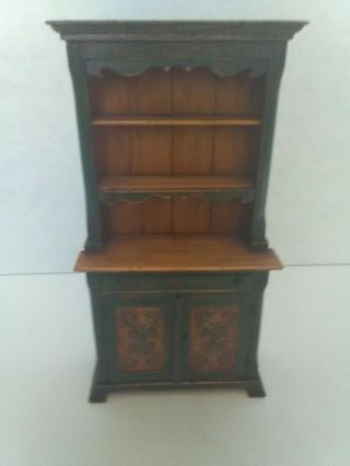 Miniature Green Painted Hutch/dresser With Rosemaling Handmade By Cindy Maloy.