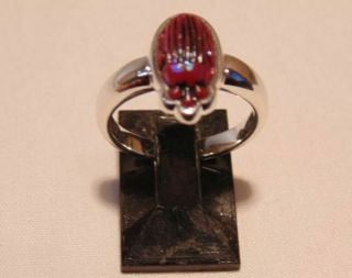 Ca: 1910 Antique Lc Tiffany Rare Red Favrile Art Glass Scarab Sterling Ring