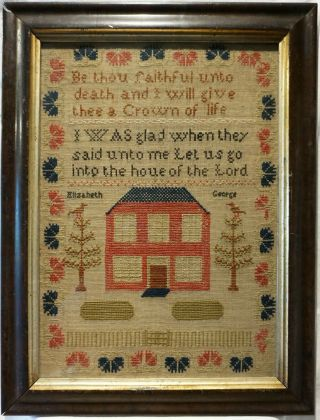 Mid 19th Century Red House & Quotation Sampler By Elizabeth George - C.  1860