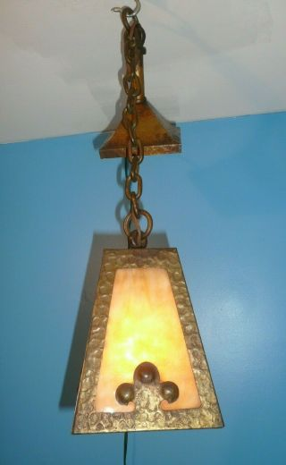 Antique Mission Arts & Crafts Slag Glass Wrought Iron Hanging Ceiling Light