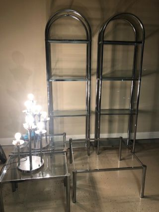 1970's Mid - Century Modern Chrome And Glass Shelves,  Tables,  Lamp Set