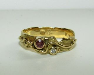 Unusual,  Antique Victorian Arts & Crafts 18 Ct Gold Ring With Ruby And Diamond