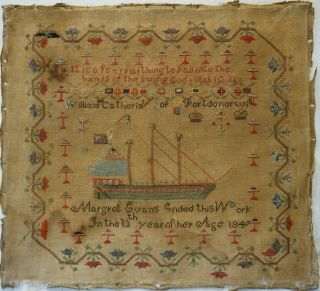Mid 19th Century Welsh Sailing Ship Sampler By Margret Evans Aged 13 - 1847