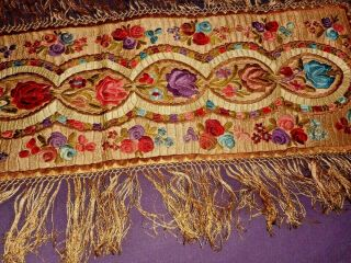 Magnificent Antique Silk Hand Embroidered Cloth Or Runner.  Matyo