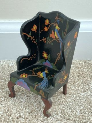 Vintage Antique Miniature Tynietoy Dollhouse Doll Wood Wing Back Chair