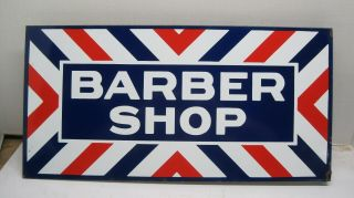 Vintage Double Sided Porcelain Barber Shop Sign With Mounting Flange Excellant
