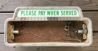 """Vintage 1950 Coca Cola """" Please Pay When Served """" Lighted Cashier Sign"""
