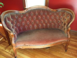 Antique Loveseat,  Velvet Tufted,  Woodwork,  Last Chance - Ending Soon