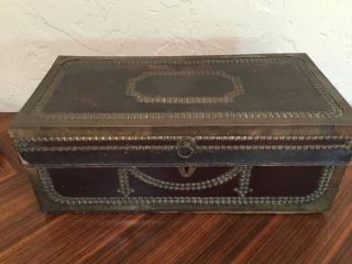 """Antique Wood Leather Metal Trunk Case Strong Box 19.  5x 9.  75x7.  75"""" Decorative"""