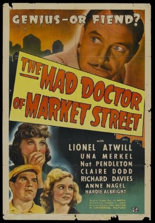 16mm The Mad Doctor Of Market St.  Feature Movie Vintage 1942 Horror
