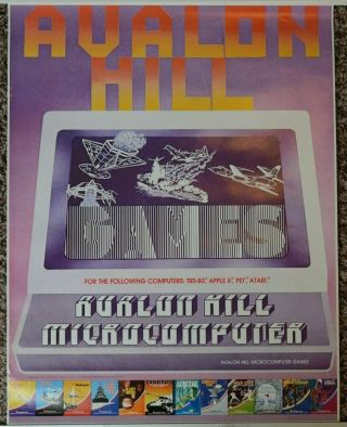 Vintage Avalon Hill Microcomputer Games Advertising Poster Trs - 80 Apple Ii Pet