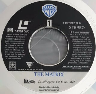 Rare Hard To Find 1999 THE MATRIX WIDE SCREEN Edition Laserdisc LASER DISC Image 5