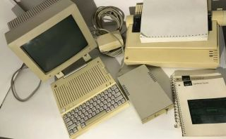 Vintage Apple Iic With Monitor,  Dot Matrix Printer,  Floppy Drive,  Cables,  & More