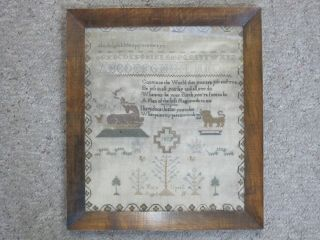 Framed Antique 1807 Needlework Sampler By Mary Upsall Age 11 W/poem Animals Abc