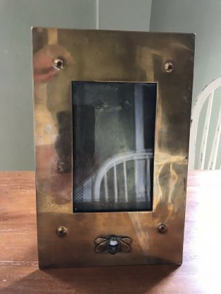 Arts & Crafts Copper Picture Frame With Scottish Agate Bee