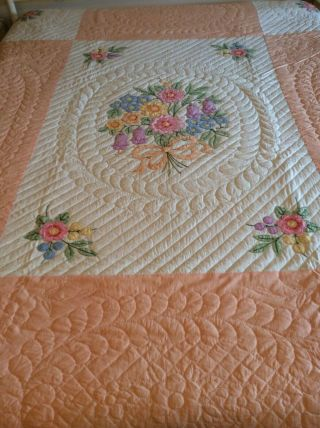 Vintage Bucilla Bouquet Appliqué Quilt Made From A Kit